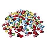Lamdoo 100 Stücke Mini Ladybugs Shaped Aufkleber Miniatur Ornament DIY Kit für Fairy Garden...