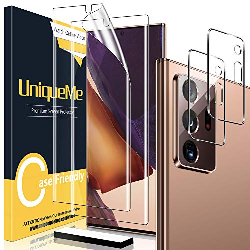 """[2+2 Pack] UniqueMe 2 Pack Soft TPU Screen Protector and 2 Pack Tempered Glass Camera Lens Protector for Samsung Galaxy Note 20 Ultra 6.9"""",HD Clarity [Case Friendly][Bubble Free] [Anti-Slip Tool]"""