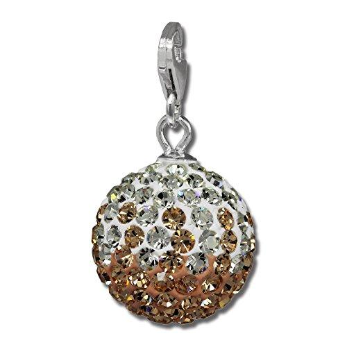 SilberDream Glitzer Charm Swarovski Kristalle Kugel rose/weiß SHINY Anhänger 925 Silber für Bettelarmbänder Kette Ohrring GSC219N