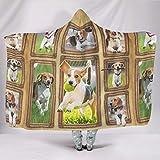 BOBONC Beagle Theme Home Hooded Throw Wrap Ultra Weich Und Warm Wohndecke Winter TV Computer Kuscheldecke Für Erwachsene White 150x200cm