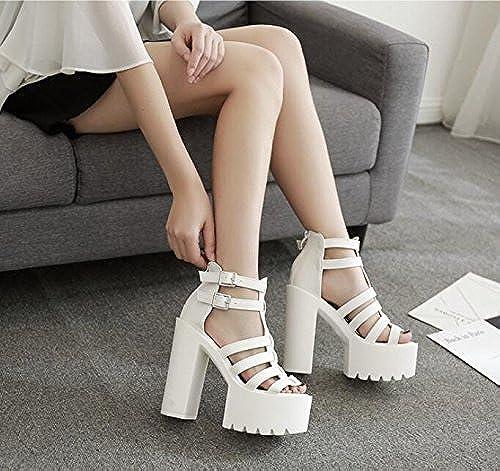 AGECC Chaussure Talon épais Plate-Forme Imperméable à L'Eau Plate-Forme De Boucle De Boucle à Talons Hauts Sandales Pour Femmes