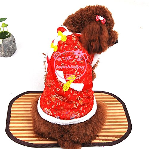 Pet Cat Dog ropa Año Nuevo Festival de Primavera con dinero de niña perchero de pared de bolsillo (algodón Jersey Pequeño perro ropa Tallas XS, S, M, L y XL