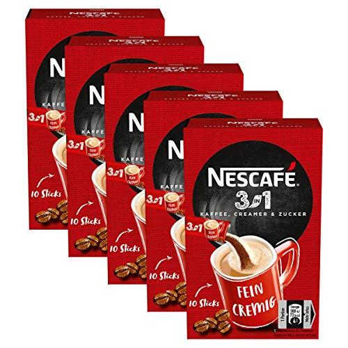 NESCAFÉ 3-in-1 Sticks, löslicher Bohnenkaffee, mit Creamer & Zucker, Instant-Kaffee aus erlesenen Kaffeebohnen, koffeinhaltig, 5er Pack (5 x 165g)