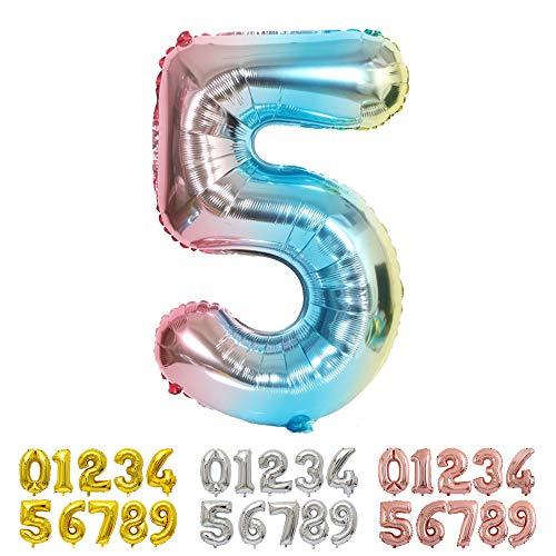 Ponmoo Blau Luftballon Zahlen 5 0 1 2 3 4 6 7 8 9 10 to 30 40 50 60 Riesige Folienballon Zahl Geburtstagsdeko, Deko zum Geburtstag Folienluftballons Dekoration Birthday Heliumdeloono