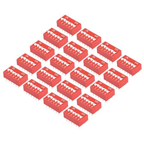 sourcing map 20 pzas Interruptor DIP rojo 1 2 3 4 5 6 posiciones paso de 2,54 mm para tablero de circuitos PCB