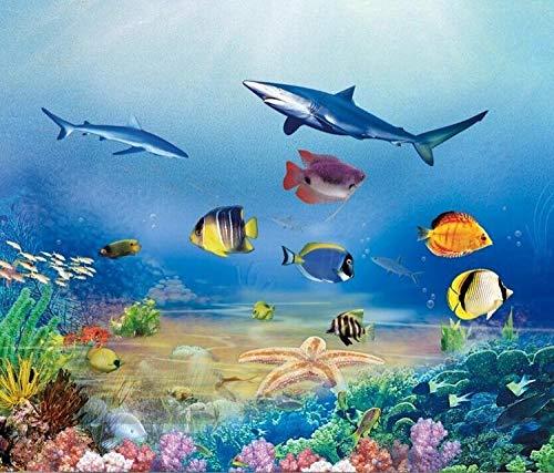 WGBHQ Aquarium Schule Kindergarten Dekoration Meeresfisch Vlies Wand Tapete Wohnzimmer Schlafzimmer Büro Flur Dekoration Wandbilder Moderne Wanddeko (B)250×(H)175cm