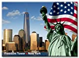 Statue of Liberty and Freedom Tower - New York City Photo Souvenir Refrigerator Magnet - NYC Fridge Magnet