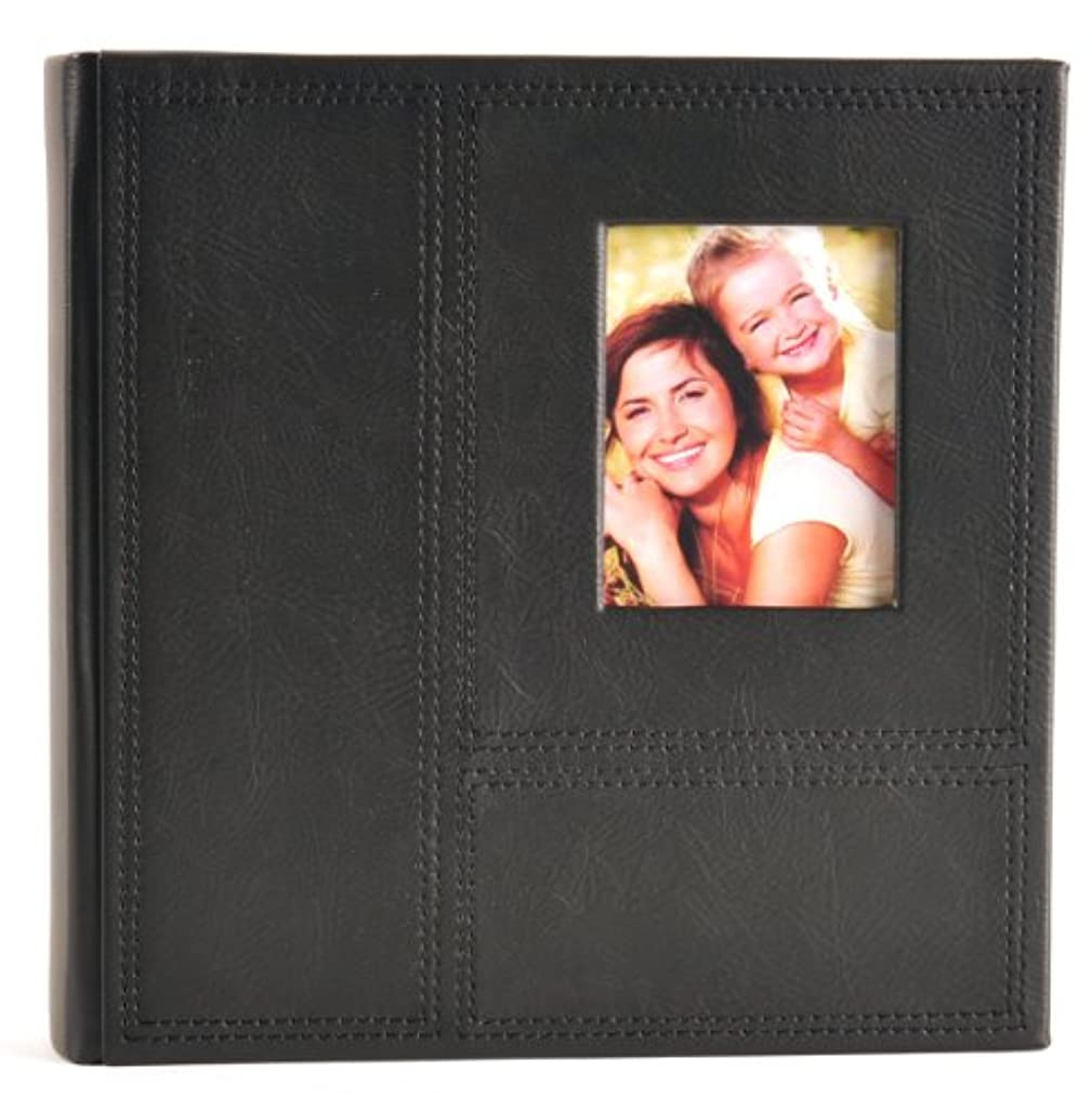 Pinnacle Frames and Accents 2UP Black Stitched Frame Front Photo Album