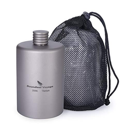 iBasingo 200ml Titane Poche Pichet Camping Flacon Portable Bouteille d'alcool Boisson Sports en Plein Air Hanche Flacon Pique-Nique Bouteille De Vin Ti1579I