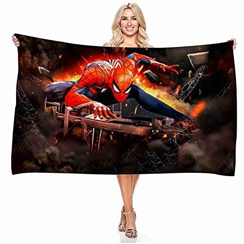 Kseyic Toalla de baño infantil de Marvel Spiderman, los Vengadores, regalo para niños, 100 % microfibra, impresión digital 3D, toalla de playa para playa, piscina, picnics (2,140 x 180 cm)