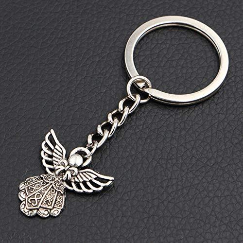 N/ A DIY Handgemachte Antike Silberne Flügel-Schutzengel-Charme-Schlüsselketten-Kreatives Neuheits-Geschenk Keychains Ringe