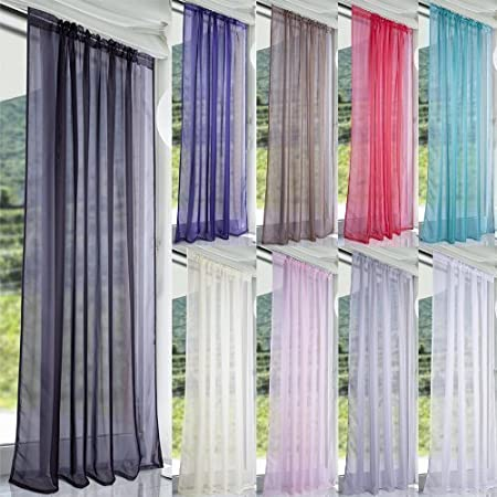 John Aird Lucy Woven Voile Slot Top Curtain Panels Aubergine, 58 Wide x 36 Drop