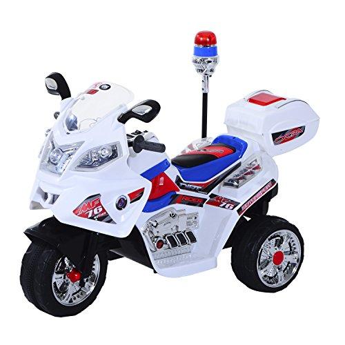 HOMCOM Moto Eléctrica Infantil Batería 6V Niños 3-8 años Coche Triciclo Niño con Caja de Almacenamiento Metal 112x51x73cm