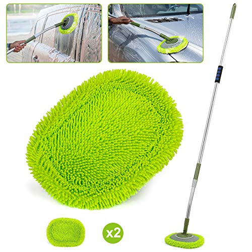 66'' Car Wash Mop with Long Handle, Chenille Microfiber Soft Car Wash Brush Cleaning Tool Kit with 15° Labor-saving Elbow Extension Stainless Steel Pole & Replacement Head for Clean RV SUV Truck House