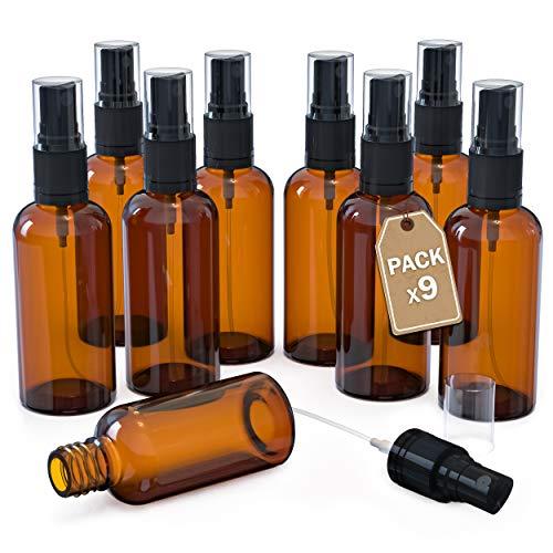 LG Luxury & Grace Pack 9 Botellas de Spray, 100 ml. Pulverizadores de Cristal Ámbar. Botellas Rellenables para Viajes. Botellas Rociadoras. Atomizadores para Perfumes y Cosméticos.