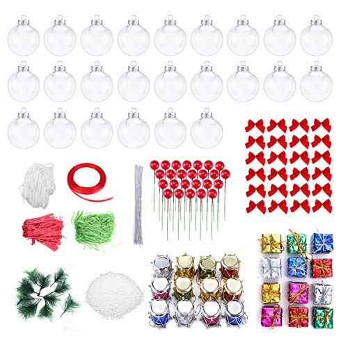 Worown 24 Pack 60mm Clear Christmas Ornaments Plastic Fillable Ornaments Balls for DIY Christmas Tree and Wedding Party Decorations