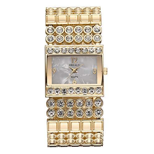 GJHBFUK Reloj De Cuarzo Banda De Aleación De Moda Reloj De Cuarzo Special Square Dial Forma Rhinestone Female Watch (Oro)