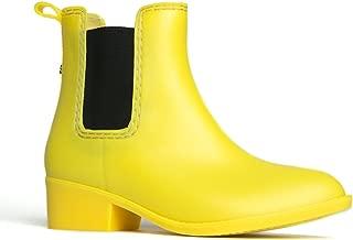 Kaden Rain Boot - Casual Chelsea Low Heel Jelly Slip On Ankle Bootie