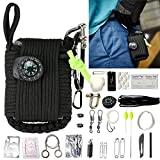 Wilderness Survival Grenade Kit,Firwood 30 in 1 Emergency First Aid Pack,550 Paracord,Fire Starter,Whistle,Wire Saw,Fishing Hook,for Hiking Camping