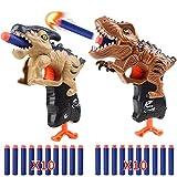 RUN BRAIN GO 2-Pack Kids Dinosaur Toys Foam Dart Gun, 20-Soft Foam Dart Bullets for Kids 5 6 7 8 9 10 Year Old Birthday Gifts Christmas Kids Party Hand Gun Toys