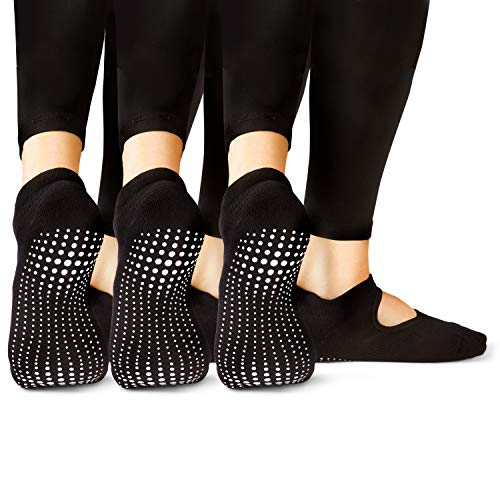 LA Active Calcetines Antideslizantes - 3 Pares - Para Yoga Pilates Ballet Barre Mujer Hombre - Ballet (3x Negro, 37-40 EU)
