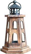 Mobestech Vintage Wooden Candle Holder Nostalgia Lighthouse Candle Cup Candelabra Desktop Decoration for Wedding Party Cen...