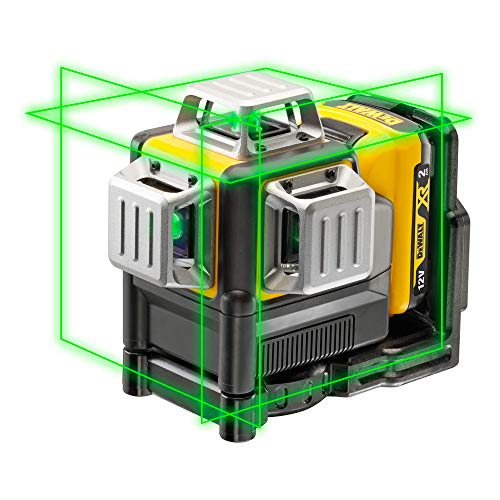 Dewalt Linienlaser (selbstnivellierender 3x360°,10,8V, 2Ah, manueller Modus ab 4° (Blinkmodus), Arbeitsbereich: 30M (60M mit Empfänger), Genauigkeit: +/-3mm@10m, IP65) grün