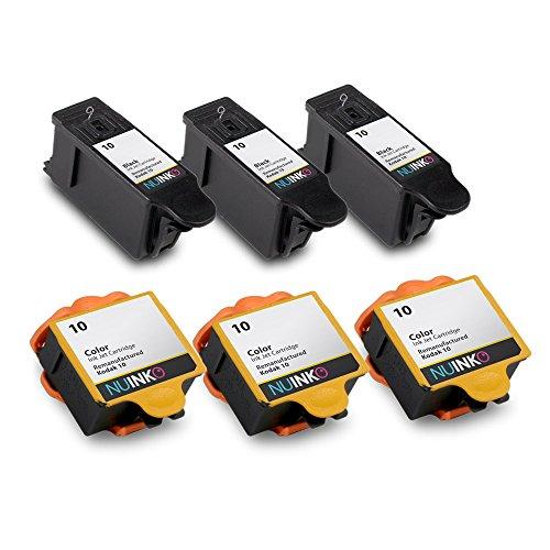 NUINKO 6 Pack Compatible Kodak 10 Ink Cartridges Black and Color for Kodak ESP 3250 ESP 5250 ESP 7250 ESP 3 ESP 5210 HERO 7.1 HERO 9.1 EasyShare 5300 Inkjet Printers