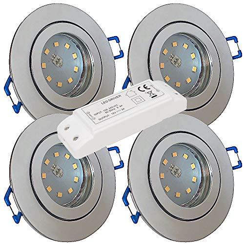 LED Bad Einbaustrahler 12V inkl. 4 x 5W SMD LM Farbe Chrom IP44 LED Einbauleuchten Aqua Rund 3000K mit Trafo