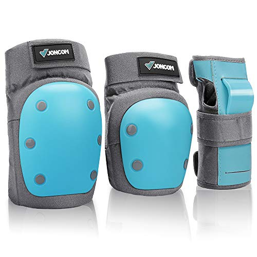Joncom Knee Pads Elbow Pads Wrist Guards for Kids Youth Adult 3 in 1 Protective Gear Set for Skateboarding, Roller Skating, Rollerblading, Snowboarding, Cycling (Blue, M 90-132 lbs)