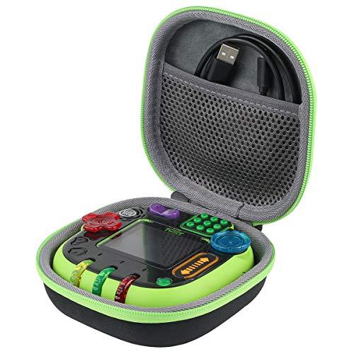co2CREA Harte reiseschutzhülle Etui Tasche für Vtech 80-606004 Rockit Twist Toy Lernspielkonsole (Grüner Reißverschluss)