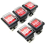 Her Kindness 5pcs Interruptor Basculante 4 Terminales luz Roja On/Off DPDT 16A 250V 20A125V AC con Funda Impermeable