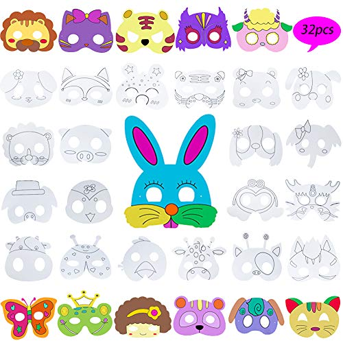 Animal Masks for Kids,DIY Graffiti Blank Painting Mask Jungle Masks Dress up Masks for Party/Cosplay/Halloween/Kids' Hand Painting Art Crafts,Birthday Party Favors Circus Kids Mask Assorted,32 Designs