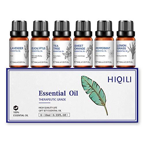 HIQILI 100% aceites esenciales orgánicos naturales puros, 6 juegos: lavanda, menta, árbol de té, eucalipto, naranja dulce, hierba de limón, relaja el sueño tranquilo