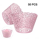 Gospire 50 pcs Pearl Lace Filigree Wedding Cupcake Wrapper Baking Cake Cups Wraps Party Decoration Laser Cut (Pink)
