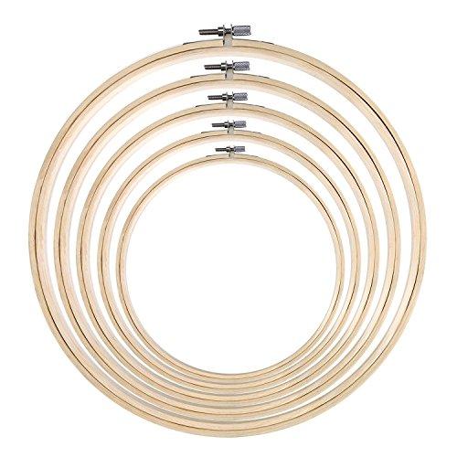 Stickrahmen aus Bambus, rund, Kreuzstich, Ring-Set für Kunsthandwerk, handliches Nähen, 5 Größen, 5 Stück