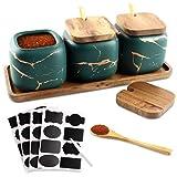 Cerámica Spice Jar Envase, Juego de 3 Especieros de Cerámica,Condimento Tarro...