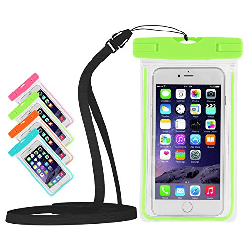 MPSTG Universal Waterproof Case Bag for Apple iPhone 6s, 6 Plus, Samsung Galaxy S6 Edge. Best Water Proof, Dust Dirt Proof, Snowproof Pouch for Cell Phone up to 6 inches-Green