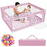 Baby Playpen,Kids Large Playard with 50PCS Pit Balls,Indoor & Outdoor Kids Activity Center,Infant Safety Gates with Breathable Mesh,Sturdy Play Yard for Toddler,Children's Fences Packable - Pink
