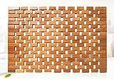 HALAWAKA Faltbare Bambus Holz Bad Matte für Dusche Spa Sauna mit rutschfesten Füßen Indoor Outdoor Verwendung für Küche Schlafzimmer Badezimmer WC Fußmatte Haustier Matte, B, 50 x 80...