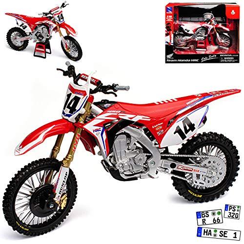 New Ray Hon-da CRF450 HRC Cole Seely Nr 14 Supercross-WM Enduro 1/12 Modell Motorrad mit individiuellem Wunschkennzeichen