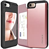 iPhone 8 Case, Credit Card Holder ID Slot Card Case SKINU [iPhone 8 Card Wallet Case] with Mirror for Apple iPhone 8 (2017) - Rose Gold