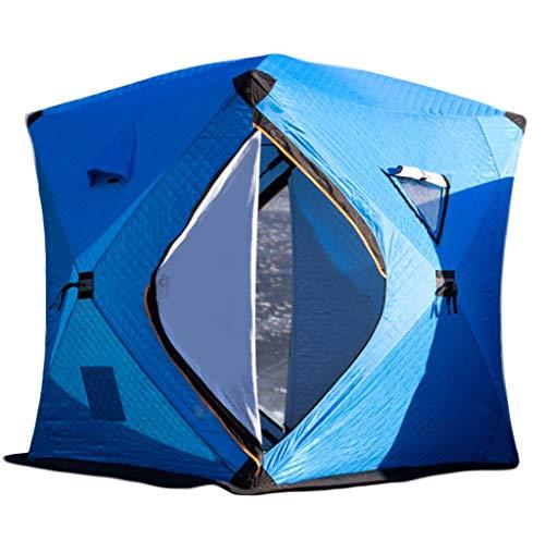 YWSJGH Eisangeln Zelt, 3-4 Personen Plus Baumwolle gefütterte Outdoor-Zelt, tragbares isoliertes Eisfischen Zelt, Eisfischen Haus, warm kalt und Schnee- Zelt (Color : Blue)