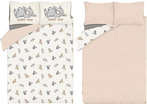 ASDA Thumper Rabbit Reversible Duvet Cover Set With Multi Bambi And Friends Cotton Soft And Cosy Thumper Rabbit Reversible Duvet Set Available in King, Double and Single (Double)