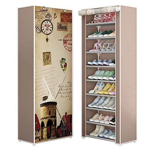 iBoosila - Zapatero Alto (160 x 30 x 60 cm, con Funda de Tela y 10 estantes, para Almacenamiento sin Polvo, para 27 Pares de Zapatos), Color Gris