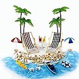 Renquen - Set di 18 mini ornamento in miniatura da spiaggia, mini sdraio da spiaggia, ombrellone, piccola palma, decorazione per la casa delle bambole, fai da te, giardino