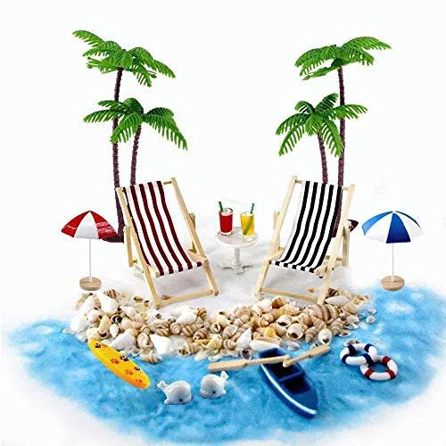 Renquen Juego de 18 piezas de adornos en miniatura para playa, micro paisaje, tumbona, silla de playa, sombrilla pequeña palmera, accesorios para decoración de casa de muñecas, hadas, jardín