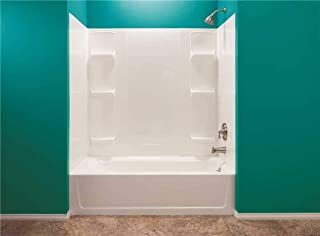 Durawall Thermoplastic Bathtub Wall Kit, Whirlpool Sized, 5 Pieces, 6 Shelves, White, 42 X 72 in.