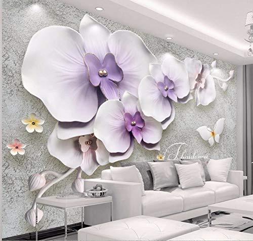 Parete decorativa della parete del gesso della stuoia di orchidee stufata 3D della nuova carta da parati di abitudine retro nuova 3D, 430 × 300Cm
