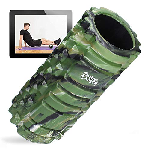 Jung & Durstig Original Camouflage Faszienrolle | Massagerolle für Beine, Rücken und Wirbelsäule | Genoppte Schaumstoffrolle inklusive E-Book zur Selbstmassage mittlerer Härte (Grün)